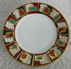 Set of 4 Pier 1 One Imports Yuletide Greetings Metallic Christmas Dinner Plates #Pier1Imports