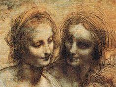 Santa Ana con san Juan Bautista y la Virgen con Jesús, detalle. Leonardo da Vinci, 1499