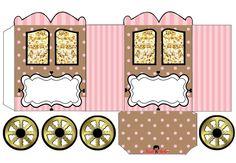 Pink and Brown: Princess Carriage Shaped Free Printable Box.