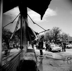 Northshore Chicago (firefighter on street), April 1968  Vivian Maier  1968
