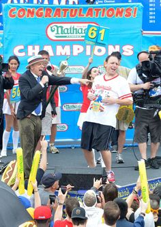 Joey Chestnut is best known for winning eight straight Nathan's Mustard Belts from 2007 to 2014 at Coney Island in Brooklyn, N.Y. He won No. 7 when he ate a record 69 hot dogs at the 2013 Independence Day event. Chestnut will compete in the Silver Slipper World Meat Pie-Eating Championship on Saturday.