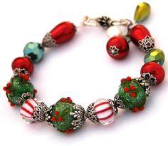 Christmas Holly Berry Bracelet Lampwork Beads by shalayneoriginals, $89.00