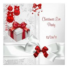 Karmani Designer Lifestyle hand-selects the best available Christmas Party invitations that you'll find on-line. They're all templates to make it easy to add your party details. Here's a great examle of what you'll find at Karmani Designer Lifestyle: Christmas eve party with elegant white and red lace ribbon effect. And all backed by Zazzle's well-deserved reputation for quality and service. Clickety-click to buy, personalize and more :)