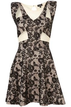 Foiled, lace skater dress by Dress Up Topshop :-) love the pattern and detail of this dress