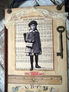 Vintage collage, schoolgirl theme with antique album page frames.