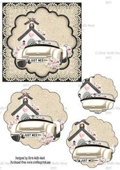 Wedding Lace on Craftsuprint designed by Chris Wells-West - Lovely quick square card with image of a wedding car and church - three layers of scallop pyramage with this - easy cut. - Now available for download!