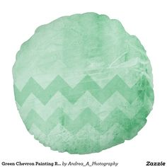 Green Chevron Painting Round Pillow