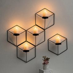 Handmade geometric three-dimensional candleholder for the wall, designed fit into any home. The minimal stylish design creates depth to any room or hallway. The products looks its best in sets of 3 or more on the wall. Wall Mounted Candle Holders, White Candle Holders, White Candles, Candlestick Holders, Candlesticks, Living Room Candles, Tea Lights, Wall Lights, Hanging Candles