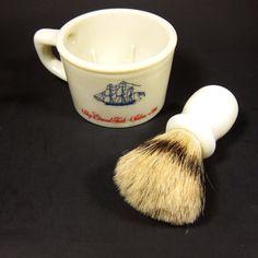 Vintage Old Spice Mug and Brush Milk Glass Red Blue Print Ship Shulton Shaving