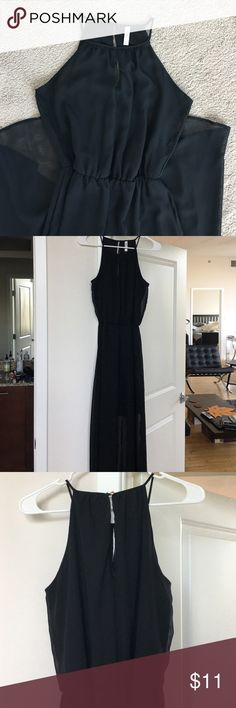 Black Maxi Semi-Sheer Dress Beautiful neckline, semi-sheer from the knee down, perfect for a holiday party. Never worn! Leave me an offer, I'm reasonable! Xhilaration Dresses Maxi