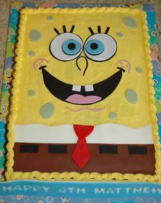 Spongebob Cake For A Boys 4th Birthday Party An All