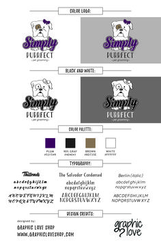 Bran Board/Logo designed for Simply Purrfect: pet grooming in Las Vegas, Nevada.  GraphicLoveShop@gmail.com