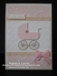 Girl Hello Baby card features the Stampin' Up! Something for Baby stamp set and co-ordinating Baby's First framelits.  Available from my online store http://www3.stampinup.com/ECWeb/ProductDetails.aspx?productID=136791&dbwsdemoid=4011749  #angelaspaperarts