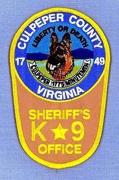 CULPEPER-COUNTY-SHERIFFS-OFFICE-VIRGINIA-Police-Patch-K9