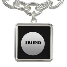 Silver And Black Two Tone Friends Charm Bracelet Charm Rings, Charm Jewelry, Wooden Plates, Silver Bracelets, Silver Plate, Charmed, Personalized Items, Boho, Friends