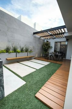 Moderner balkon, veranda & terrasse von tamen arquitectura trendy - Garden Tips Modern Front Yard, Modern Balcony, Garden Modern, Modern Porch, Backyard Patio Designs, Small Backyard Landscaping, Landscaping Ideas, Patio Ideas, Stone Landscaping