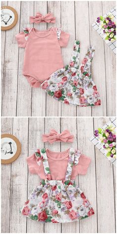 Ruffle Short Sleeves Bodysuit, Floral Overall Skirt, Headband in Pink infant outfit,infant s Baby Outfits, Little Girl Outfits, Toddler Outfits, Kids Outfits, Toddler Girls, Trendy Baby Girl Clothes, Baby Kids Clothes, Frocks For Girls, Dresses Kids Girl