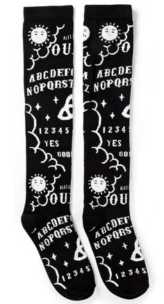 Chill out or play hard in the Ouija Socks! Made out of a comfortable and stretchy cotton blend, these long socks fit most sizes. Ouija, Emo Fashion, Gothic Fashion, Dark Fashion, Steampunk Fashion, Fashion Ideas, Cute Emo Outfits, Cute Emo Clothes, Diy Goth Clothes