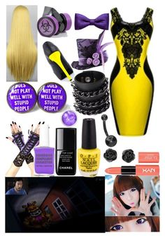 """""""Nightmare Fredbear (Human FNAF Girls)"""" by thefnaftheorists ❤ liked on Polyvore featuring ZuZu Kim, le top, Mia Bag, Obsessive Compulsive Cosmetics, GAS Jeans and Penny Loves Kenny"""
