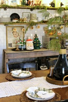Vintage Christmas Farmhouse Kitchen- Gathered Living Holiday Home Tour Antique Booth Ideas, Cherished Memories, Fixer Upper, House Tours, Vintage Christmas, Table Settings, Table Decorations, Antiques, Kitchen