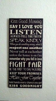 marriage rules. So cute! Definitely want this sign in my house when I'm married :)