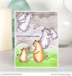 Mama Elephant April Stampede @akossakovskaya #cardmaking #mamaelephant
