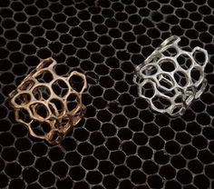 This wide band is cast in bronze or sterling from actual honeycomb. Ring Bracelet, Ring Earrings, Bracelets, Beauty Base, Backyard Beekeeping, Bees Knees, Honeycomb, It Cast, Bronze