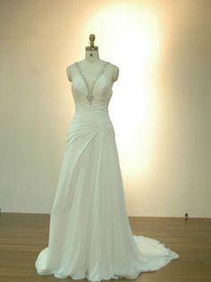 Directsale Halter Spaghetti Chiffon Backless Wedding Dress Trumpet/Mermaid Wedding Dress Free Measurement