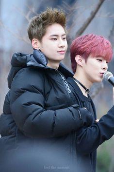 Jinhyuk and Wooseok Boy Idols, Pin Pics, Perfect 10, Produce 101, Asian Boys, Kpop Boy, Good People, Red Hair, Dreaming Of You
