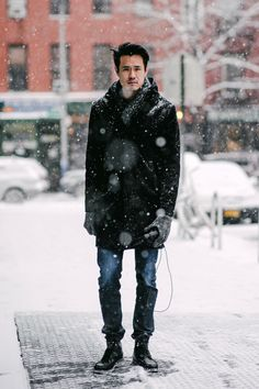 Wandering through the streets of New York during a blizzard.