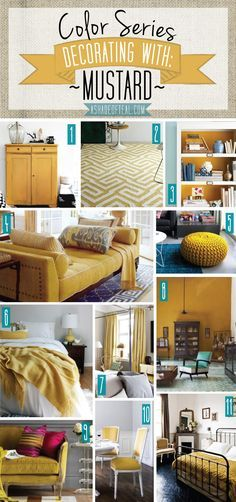 Color Series; Decorating with Mustard | A Shade Of Teal. Mustard Yellow home…