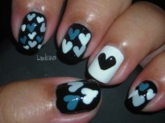 I want my nails to get done like this just with dark purple, light blue, and hot pink, maybe?