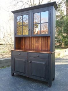 Grand Design Grain Sack Stripe Inspired Hutch In Grey Tabby Paint Delectable Dining Room China Cabinets 2018
