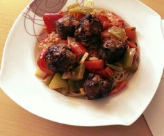 Mediterranean pasta with meat balls