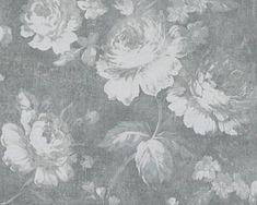 Wallpaper flower roses vintage grey AS Secret Garden Floral Print Wallpaper, Wallpaper Flower, Garden Wallpaper, Pattern Wallpaper, Floral Wallpapers, Drops Patterns, Wall Patterns, Wallpaper Online, Wall Wallpaper