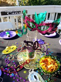 Mardi Gras party centerpiece