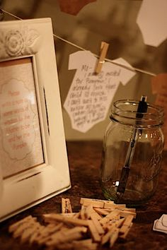 Instead of games at a baby shower, have each guest take a onesie, write some advice for the mom-to-be  display it on a clothesline using mini clothespins. Very cute idea! :)