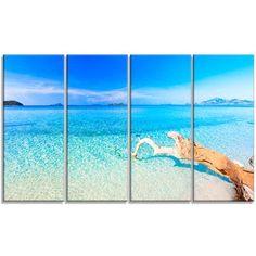 DesignArt 'Blue Tropical Beach Panorama' 4 Piece Photographic Print on Wrapped Canvas Set