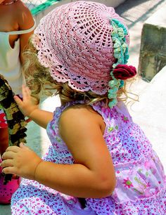 Ravelry: Little Girl's Sunhat with a Poppy Flower pattern by Svetlana M.