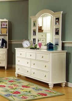 Summer Breeze Cottage Off White Wood Glass Dresser And Mirror
