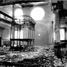 """This is the inside of a synagogue in Nueremberg, Germany after the horrible Kristallnacht. Also known as """"Night of Broken Glass"""", Kristallnacht was a night when the Nazis destroyed all Jewish businesses and synagogues purely because they could and they wanted to."""
