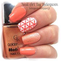 Nail Art by Belegwen: OPI Where Did Suzi's Man-go?, Gina Tricot White and Golden Rose 72