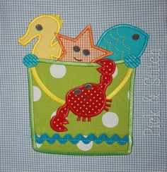 Sandpail and Friends Summer Applique Design Machine Embroidery INSTANT DOWNLOAD by pickandstitch on Etsy https://www.etsy.com/listing/91909968/sandpail-and-friends-summer-applique