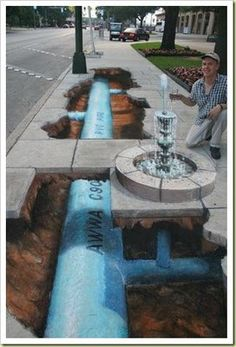 Sidewalk Chalk Art - Underground Pipe