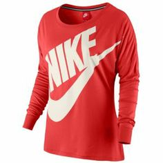 Nike Signal Loose L/S T-shirt - Women's - Fusion Red/Sail