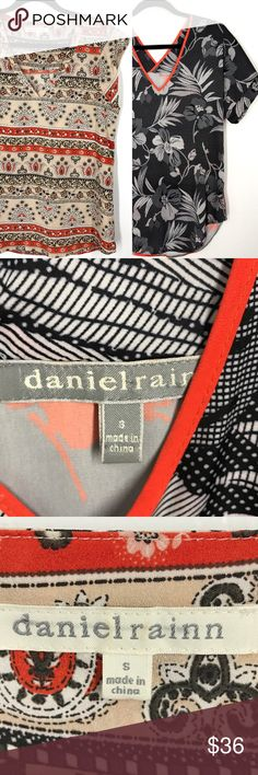 Daniel Rainn blouse bundle size small This bundle is for two Daniel Rainn floral blouses. One is cream with stripes of floral print. The other is two prints, black and white floral on the front and grey and orange floral on the back. Both are in good condition. The second one has one small pull on the back that is difficult to see. Daniel Rainn Tops Blouses