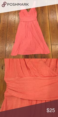 Cute pink tank dress! Size S. Super soft pink tank top dress by Loft. Hits above knee. Deep vneck and fitted at waist. 95% rayon, 5% spandex. LOFT Dresses Mini