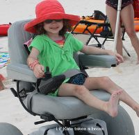 Motorized beach wheelchairs rentals available at Gulf Shores/Orage Beach, AL.  It all starts with making a reservation to ensure we'll have a motorized beach wheelchair available when you arrive. Last year we had 20 powered beach wheelchairs in our rental fleet, and we still ran out of beach wheelchairs. so, dont wait until you are ready to park your flip-flops in our sugar white sand to make a reservation.  Beach Wheelchair Rental Delivery/Return Fee - $40.00