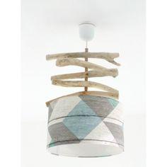 Lustre bois flotté - abat jour cylindre 30 cm parquet - pastel bleu gris vert géométrique suspension cylindrique plafonnier rond | JourDePluieCreations