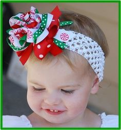 boutique CHRISTMAS CANDY korker baby headband bow @Marie FromTexas